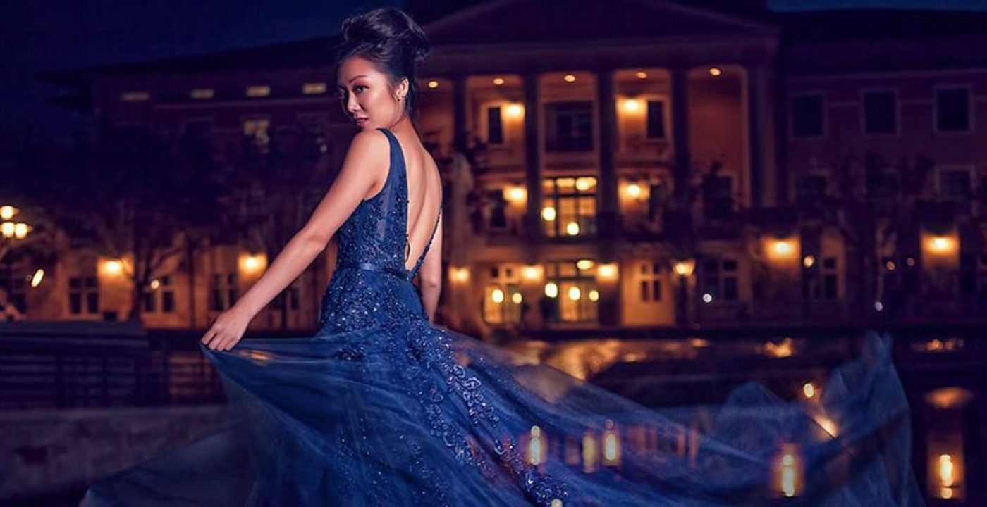 Fashion model in the evening lights