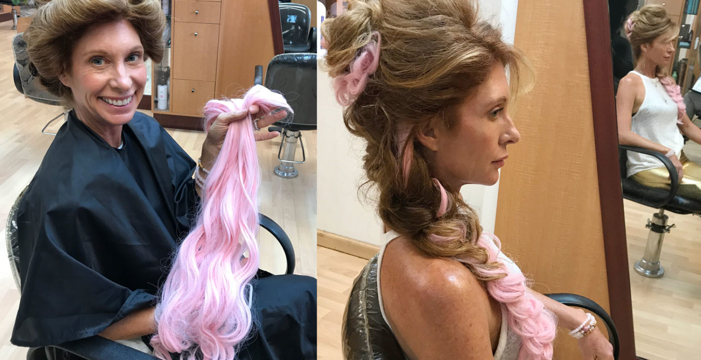 Pink clip-in hair extensions